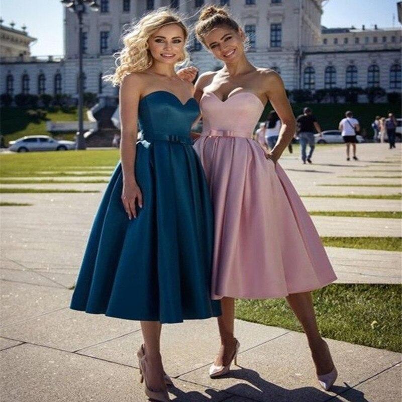 Простые трапециевидные атласные платья принцессы с бантом без рукавов длиной до середины икры для выпускного вечера балахоны для коктейля ...
