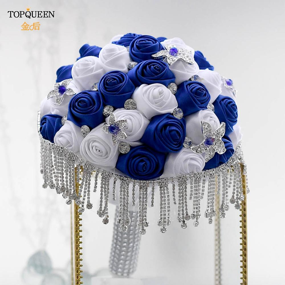TOPQUEEN كريستال الزفاف باقة الزفاف اليدوية الأزرق الملكي الأبيض شريط وردي mariage باقات زفاف الشرابة باقات F4-RBLG