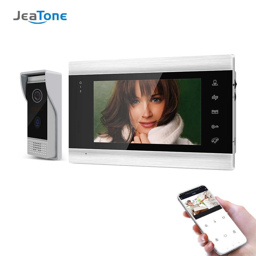 Jeatone 7 بوصة اللاسلكية واي فاي الذكية IP فيديو باب الهاتف نظام اتصال داخلي مع 1x720P السلكية جرس الباب الكاميرا ، ودعم فتح عن بعد