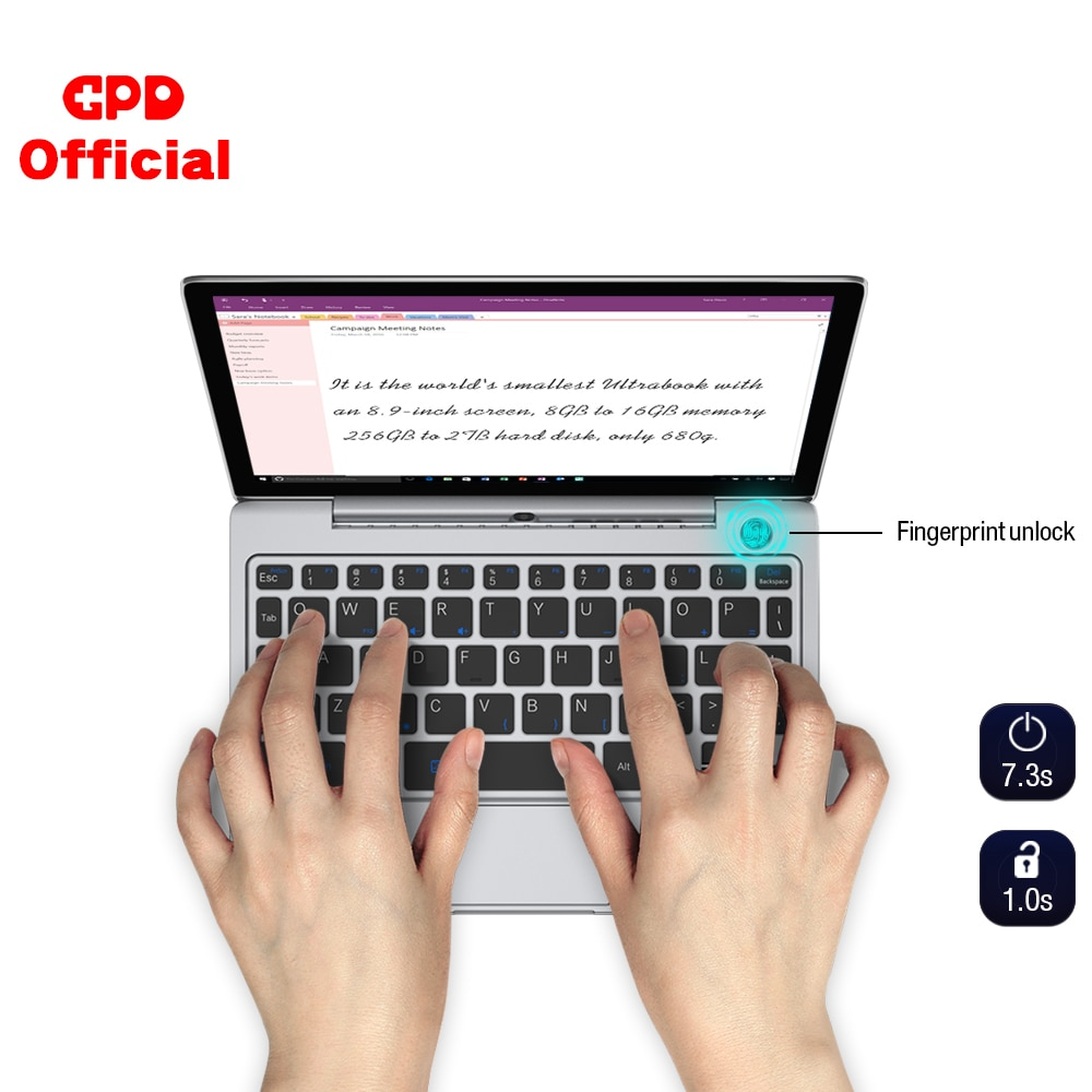 GPD P2 Max Ultrabook Business Mini Pocket Laptop Notebook 8.9 Inch Windows 10 RAM 8GB ROM 256GB Touch Screen Fingerprint Unlock