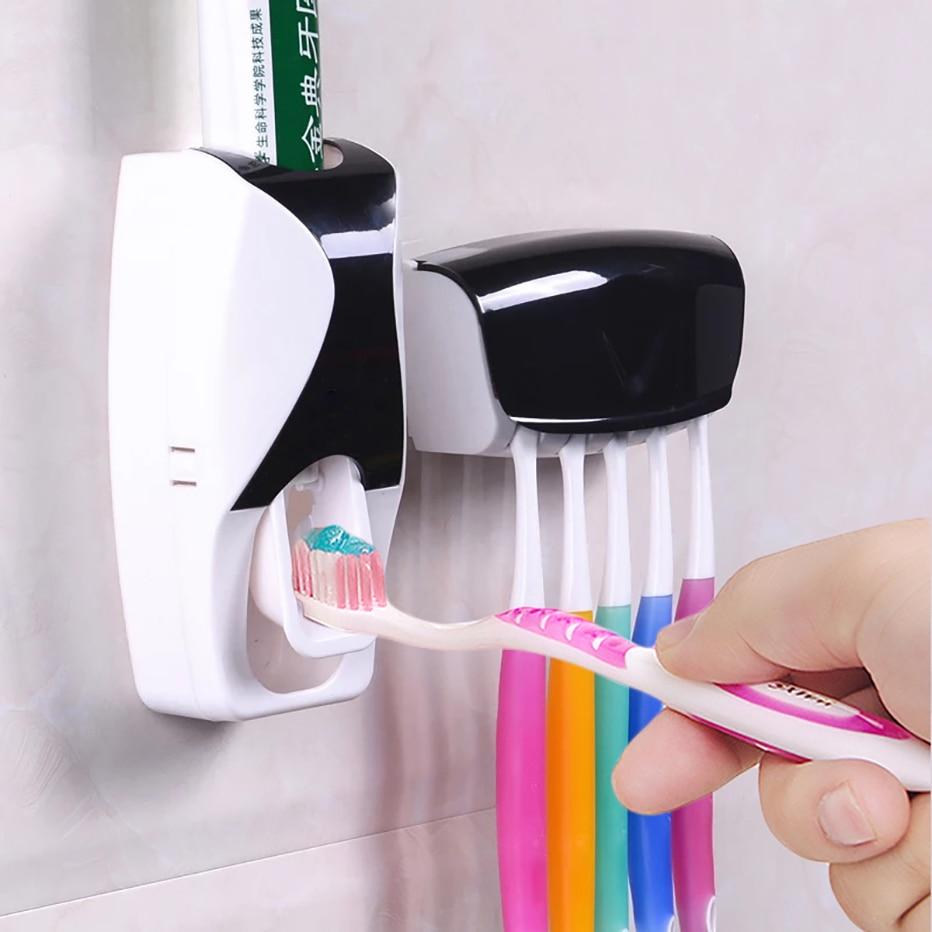 1 conjunto criativo automático plástico preguiçoso dispensador de pasta dentes 5 titular squeezer acessórios do banheiro