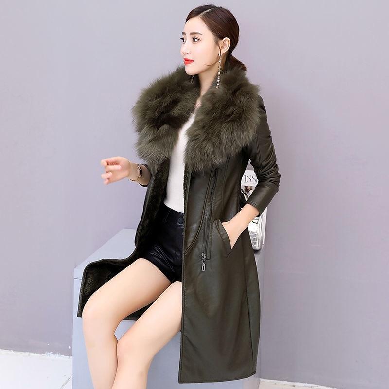 2021 New Vangull Women's Leather Jacket for Winter Plus Velvet Warm Slim Big Fur Collar Long Leather Coat Female Outerwear M-4XL enlarge