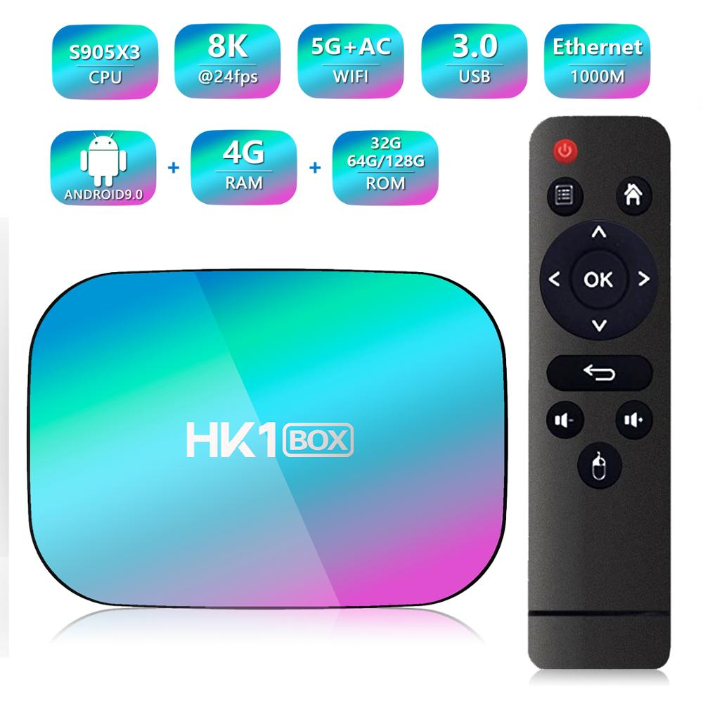 HK1 Box Amlogic S905X3 Smart Android 9.0 TV BOX 4GB RAM 32GB 64GB 128GB ROM 2.4G 5G wifi Bluetooth 4K UHD Set Top Box vs H96 MAX