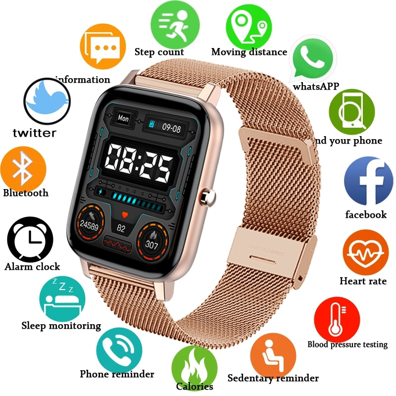 Smart Watch Women Bluetooth Call Reminder Pedometer Watches Men Sport Fitness Tracker Heart Rate Bra
