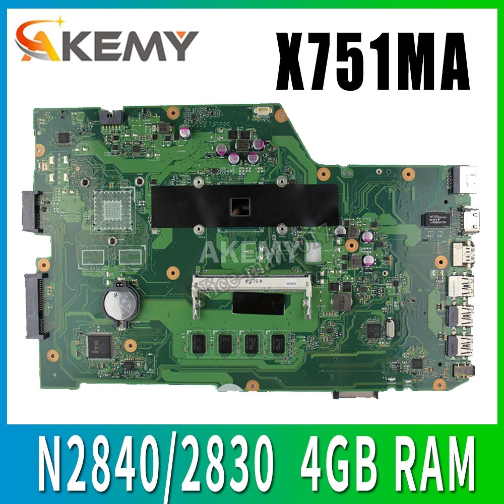 X751MA Avec N2840/2830 CPU 4 GO RAM 90NB0610-R00150 carte mère REV2.0 Pour ASUS X751MA X751MJ X751M X751MD carte mère dordinateur portable