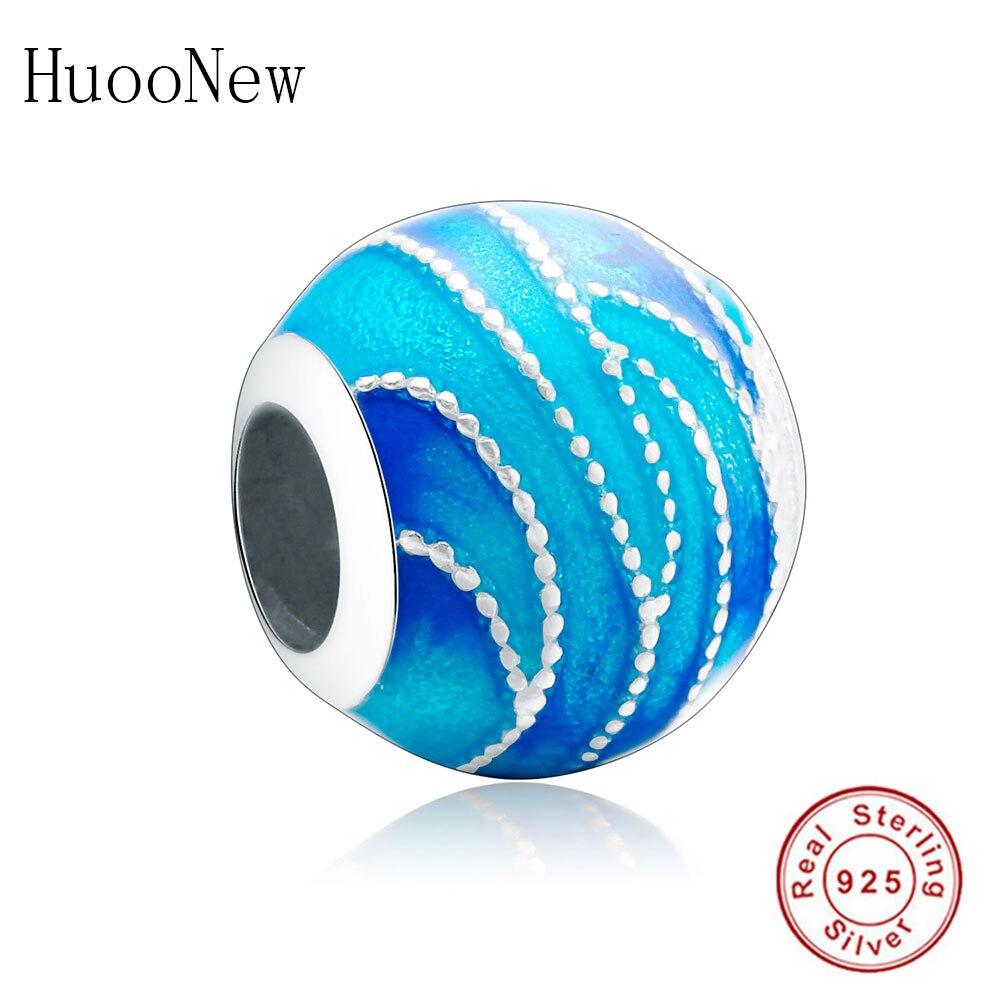 Pulsera Pandora Original, pulsera de plata de ley 925 con esmalte azul marino, hecha con cuentas de Berloque para mujer