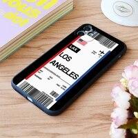 for iphone los angeles boarding pass flight ticket print soft matt apple iphone case 6 7 8 11 12 plus pro x xr xs max se