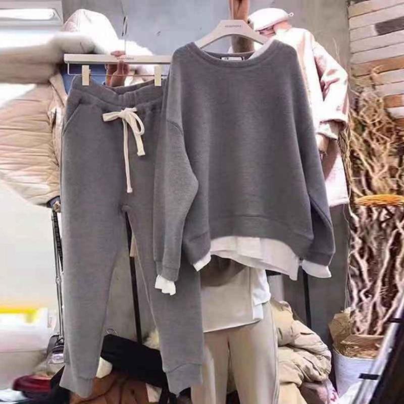 Female Sporting Suit Streetwear Autumn Winter Basic Women Pullover Sweatshirts And Harem Pants Women's 2 Piece Set Tracksuits
