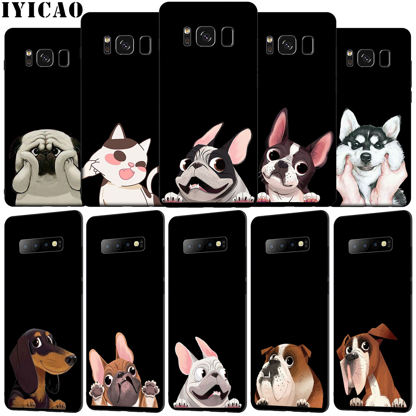 IYICAO lindo perro Pug divertido Bulldog corgi suave funda de teléfono para Samsung Galaxy S20 Ultra S10e S9 S8 Plus S7 S6 Edge S10 Lite