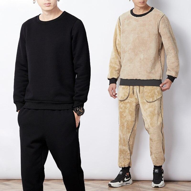 2019 Winter Thick Warm Men's O-neck Pullover Tracksuit Fleece Sweat Suits O-neck Sweatshirts+Track Pants 2 Piece Sportswear Set