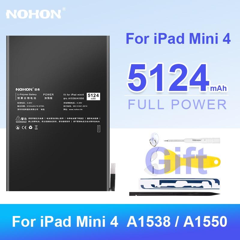 Nohon-بطارية ليثيوم بوليمر بديلة لجهاز iPad Mini 4 ، 5124 مللي أمبير ، لجهاز iPad Mini 4 ، A1538 ، A1550