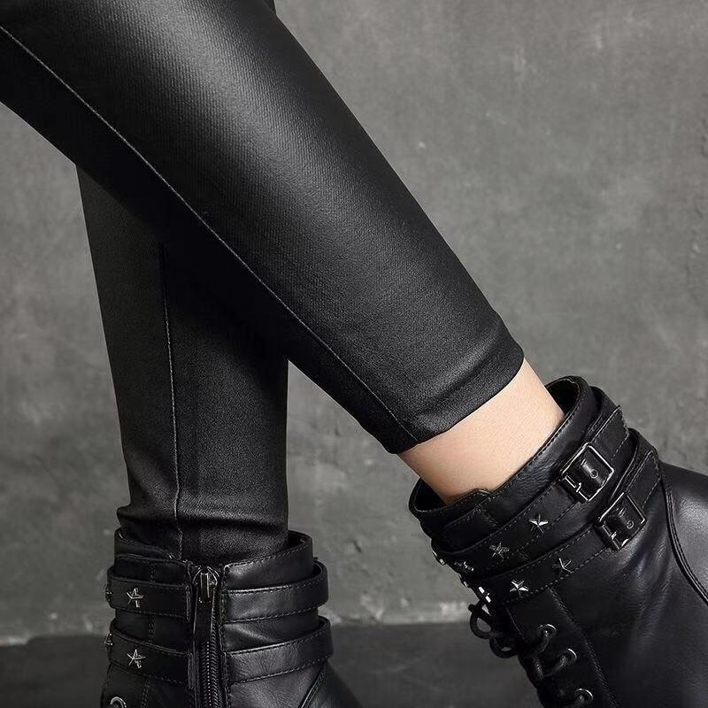 Fleece Leather Pants Women's High Waist and Winter Outer Wear Base