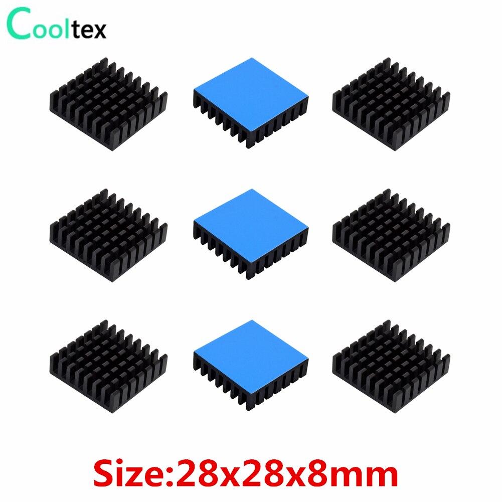 10 шт. 28x28x8 мм алюминиевый радиатор охлаждения для электронных чипов IC VRM с теплопроводящей лентой