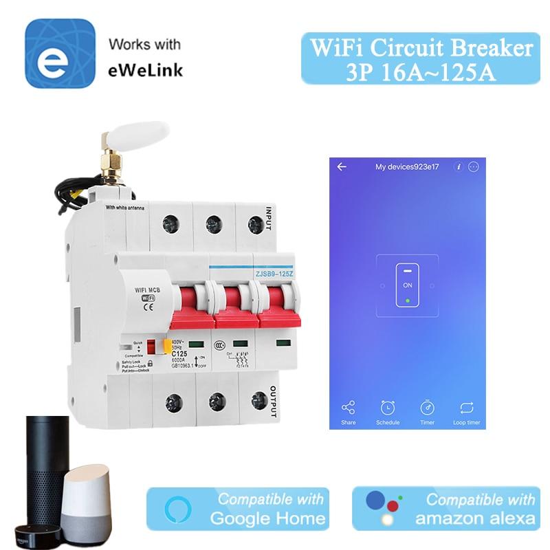 EWeLink-قاطع دائرة WiFi ذكي ، 16A ~ 125A ، MCB ، 3P ، متوافق مع Alexa ، Google Home ، IFTTT ، المنزل الذكي