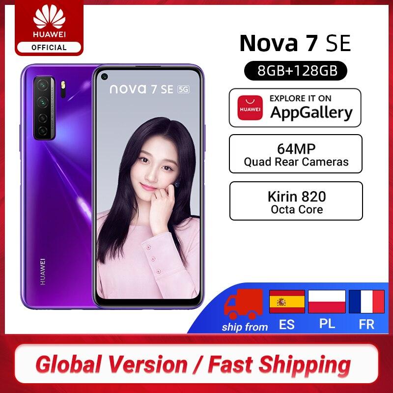 "Versión Global Huawei Nova 7 5G Smartphone 8G 128G Kirin 820 64MP Quad trasero cámaras 6,5 ""4000mAh teléfonos móviles 40W sobrecargar"