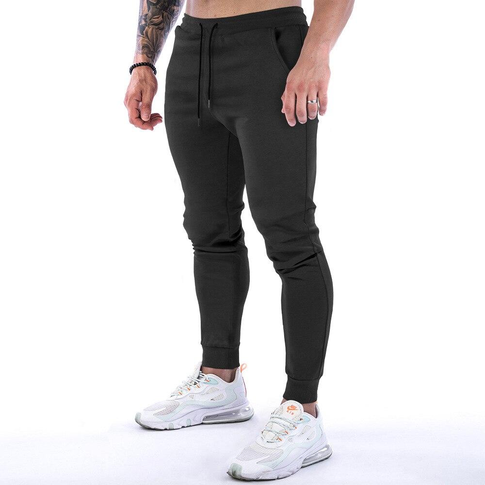 Мужские повседневные штаны 2021, хлопковые брюки для бега, облегающие Зауженные спортивные брюки, тренировочные дышащие для...
