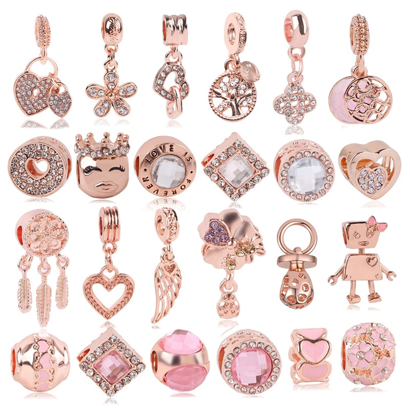 Boosbiy 2pc rosa ouro leão coroa amor coração pingente charme caber pandora pulseiras & colares para mulher jóias fazendo acessórios