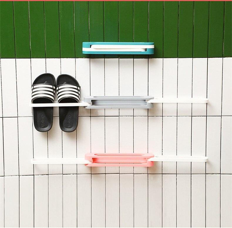 Folding shoe rack free perforated bathroom slippers rack toilet storage rack room organizer  shoes rack shoe storage shelf