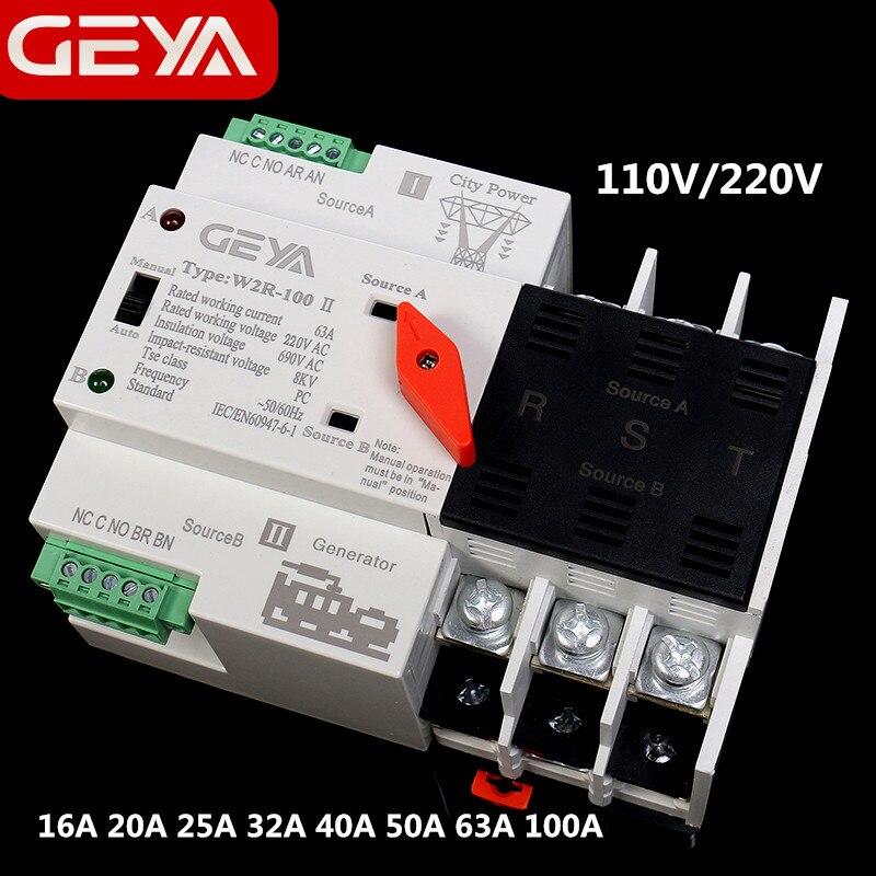 GEYA W2R-3Pole Din Schiene Montiert Automatische Transfer Switch Drei Phase ATS 100A Power Transfer Switch 63A