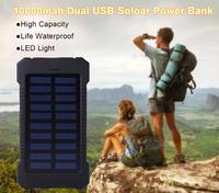 Portable Solar Power Bank 10000mah Waterproof External Battery DUAL USB Powerbank 10000 Mah Phone Battery Charger LED Pover Bank