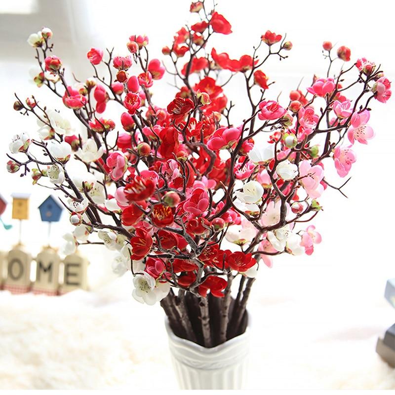 Ciruela flores de cerezo artificiales flores de seda ramas de cerezo hogar mesa de salón decoración para habitación bricolaje decoración de boda