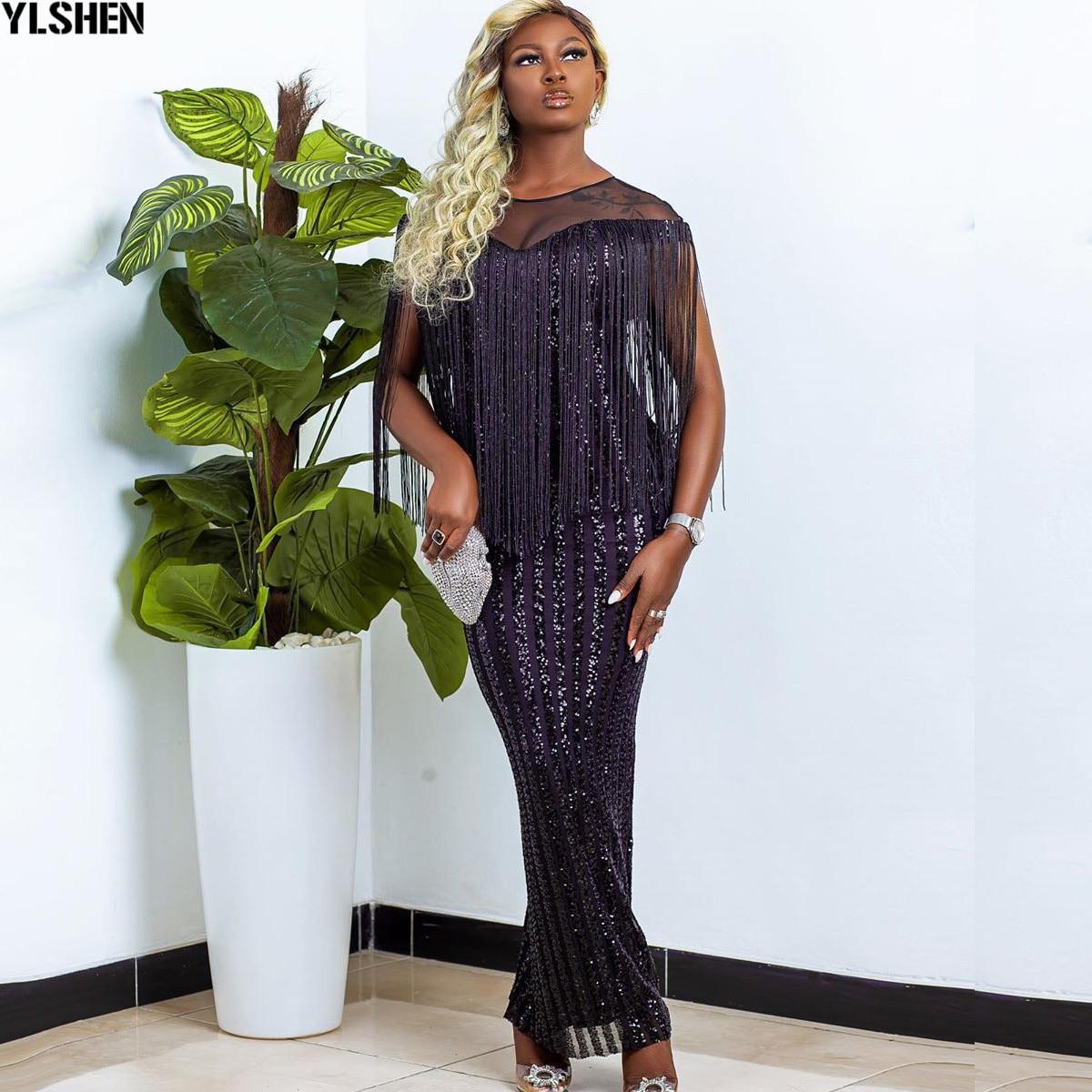 فساتين الأفريقية للنساء Dashiki شرابة شبكة الترتر رداء فستان أفريقي أفريقيا الملابس سوبر مطاطا عيد الميلاد فستان ماكسي