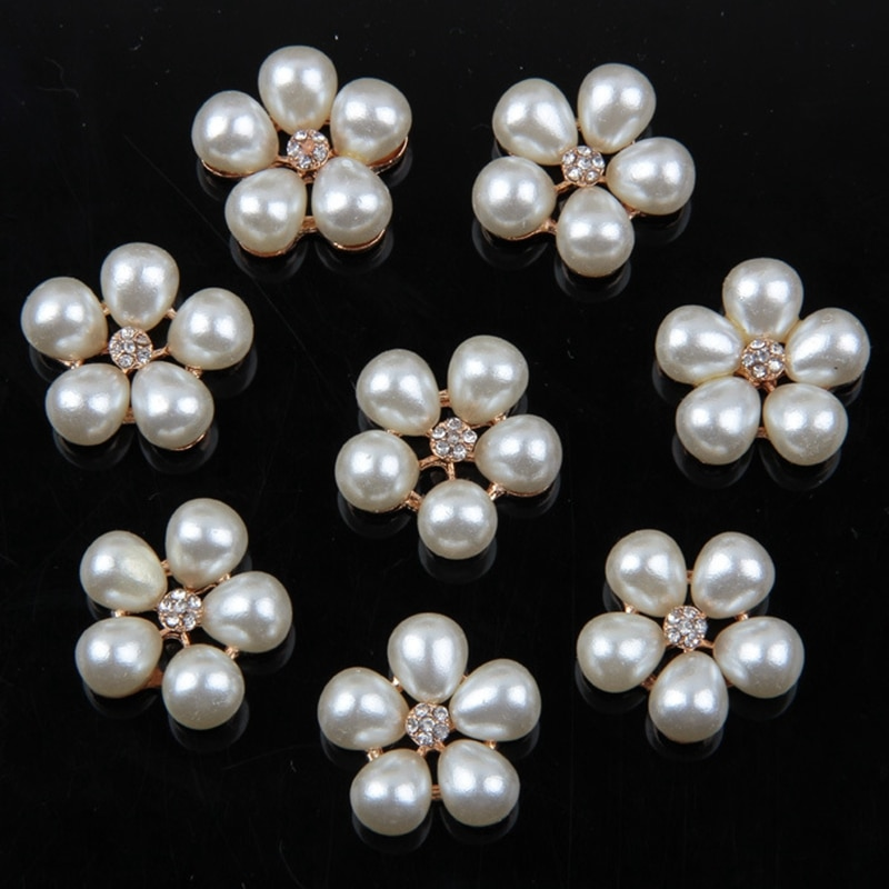 10pcs/lot Fashion Crystal Rhinestone Pearl Flower Embellishments Buttons DIY Handmade Materials Christmas Decoration Buckle 100pcs lot 3 20colors diy polyester fluffy ballerina chiffon flower with pearl button in centre handmade accessories