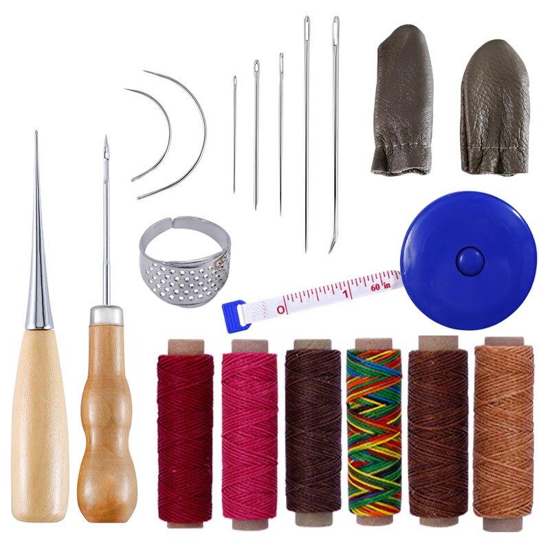 17 шт. иглы для шитья кожи шило иглы Набор ниток наперсток для ремонта обуви набор инструментов для кожевенного ремесла набор ручных инструментов