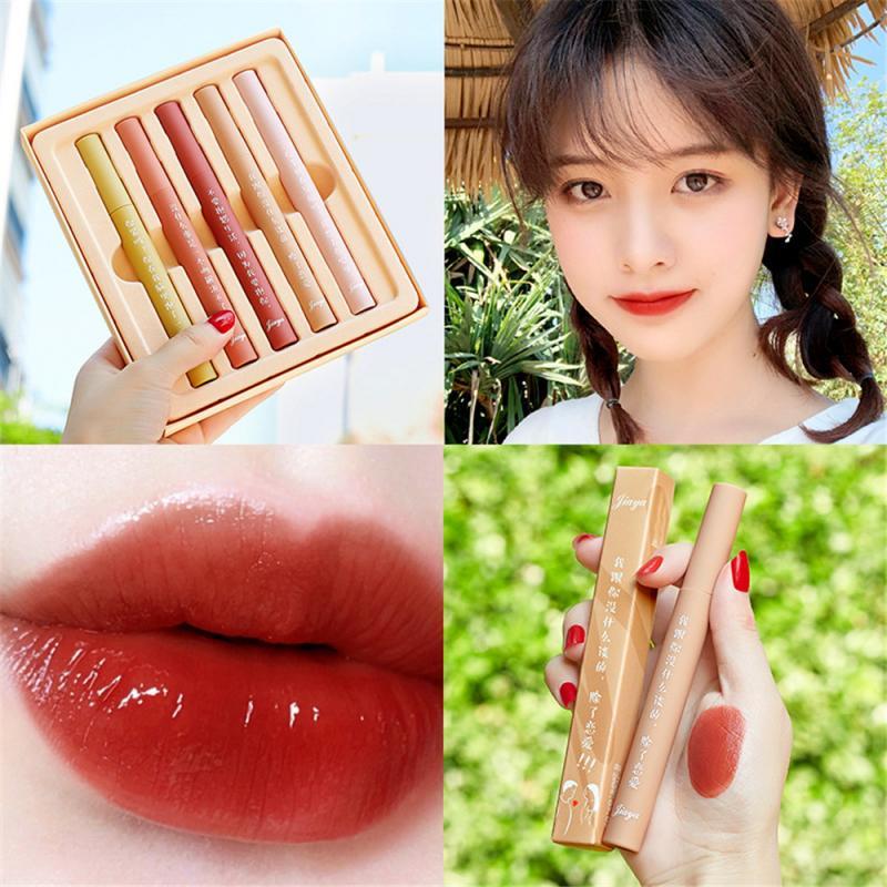 5pcs/Set Matte Tint Lip Gloss Liquid Lipstick Waterproof Long Lasting Moisturize Lip Glaze For Women