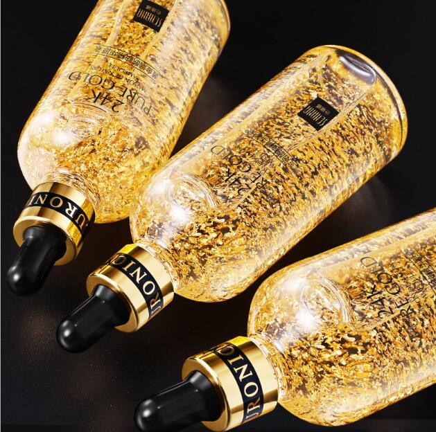 Esencia de cuidado de la piel líquido de humedad de oro de 24K ácido hialurónico puro suero antiarrugas Esencia de Nicotinamide oro
