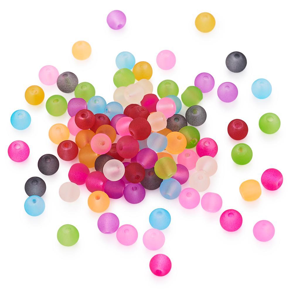 Pandahall 100 pces 4/6/8mm jóias de cristal de vidro fosco que fazem diy grânulos soltos para colar pulseira brincos, cor misturada, redondo