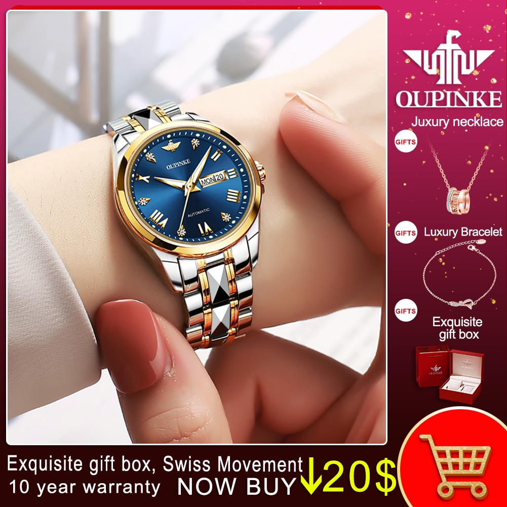 OUPINKE New Fashion watches for women Luxury Automatic Mechanical Wristwatch Valentine's Gifts Bracelet watch Montre femme