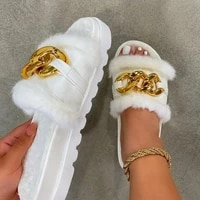 summer plush slippers fashion open toe solid color womens sandals metal chain outdoor casual womens shoes plus size