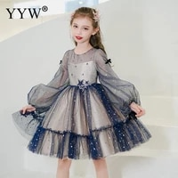 blue girl long sleeve one piece wedding dress flower girl dresses sequins baby girl dresses party and wedding with hair band