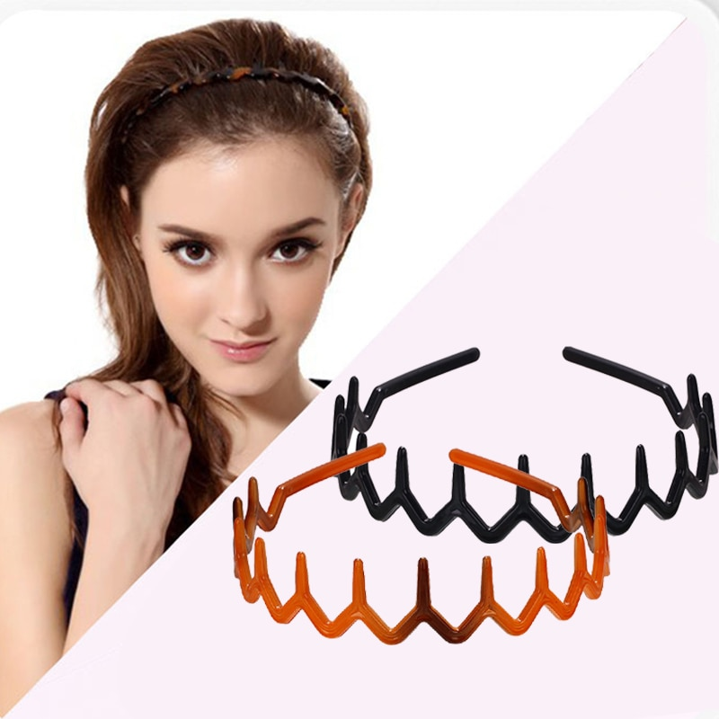 Pente de Cabelo de Plástico Rígidos para as Mulheres Atacado Casual Conforto Ondulado Dentada Dente Headband Hairband Headbands Meninas m3 2pcs