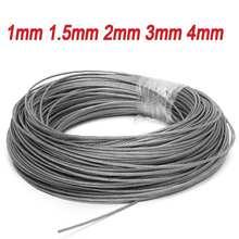 50M/100M 1mm 1.5mm 2mm diamètre 304 acier inoxydable câble de pêche levage ligne de câble corde à linge 7X7 Structure 1/1.5/2mm
