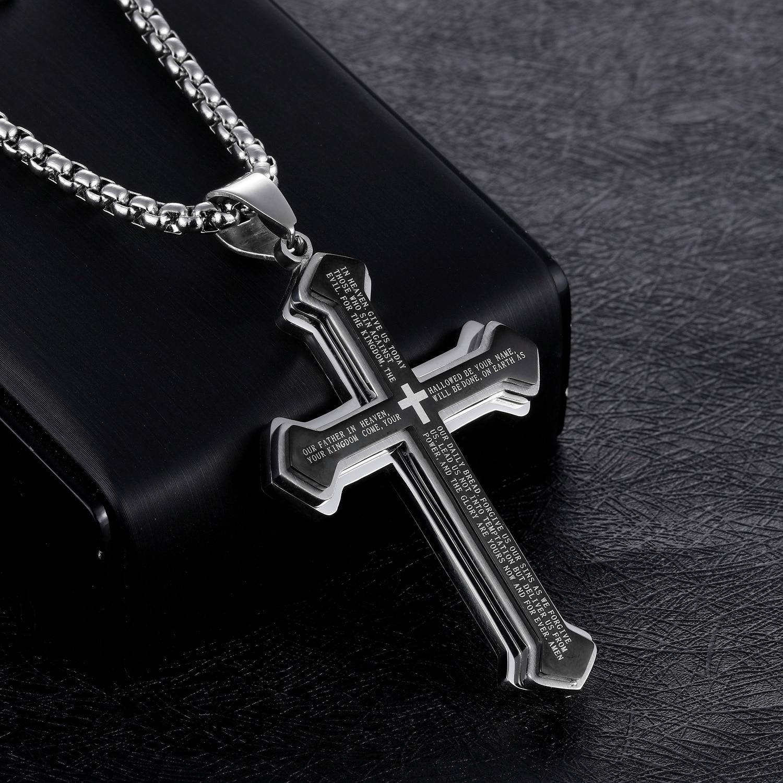 Classic Vintage Bible Cross Necklace Pendant For Men Trend Titanium Steel O-chain Male Hip Hop Rock Religious Jewelry