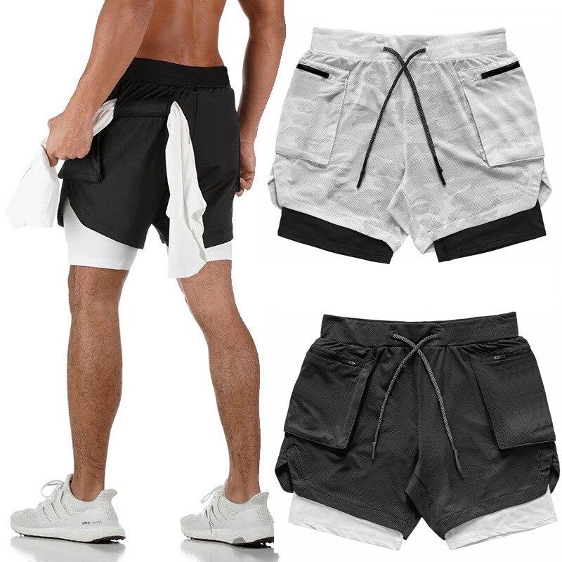 Мужские шорты для бега, спортивные шорты, мужские спортивные шорты 2 в 1, спортивные шорты для бега, фитнеса, быстросохнущие мужские шорты для...