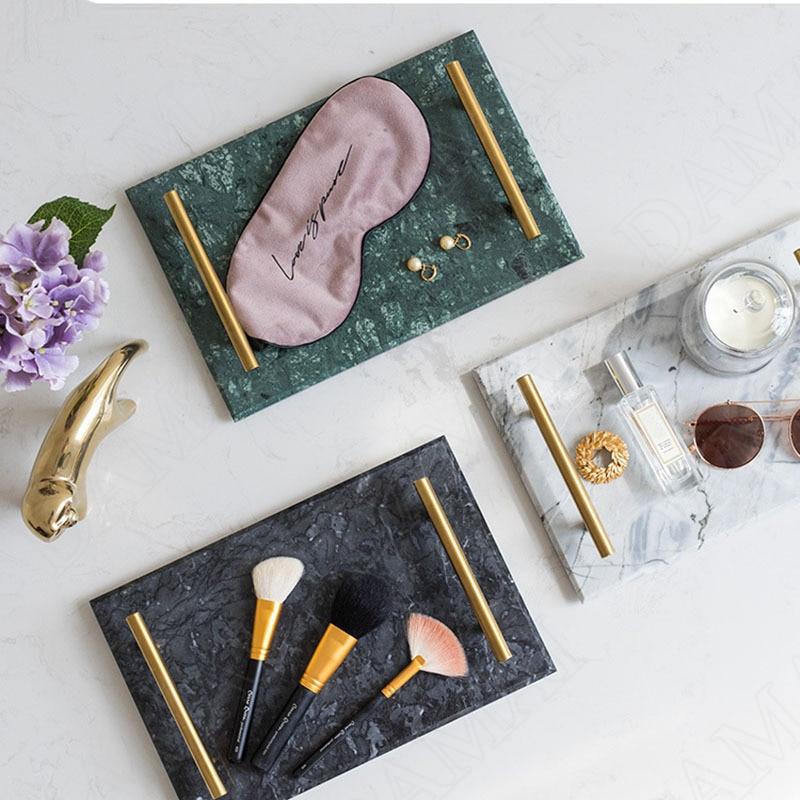 النمط الأوروبي السيراميك صينية تخزين مقبض معدني مجوهرات التجميل المنظم الرخام الملمس العطور صواني ديكور المنزل الحديثة