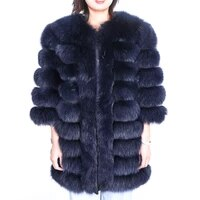 2020 new fashion womens real fox fur coats winter genuine natural fur jacket long outwear luxury warm thick slim with sleeve