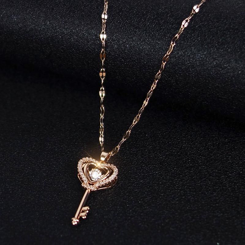 Cadena con colgante de llave en forma de corazón para mujer, joyería...