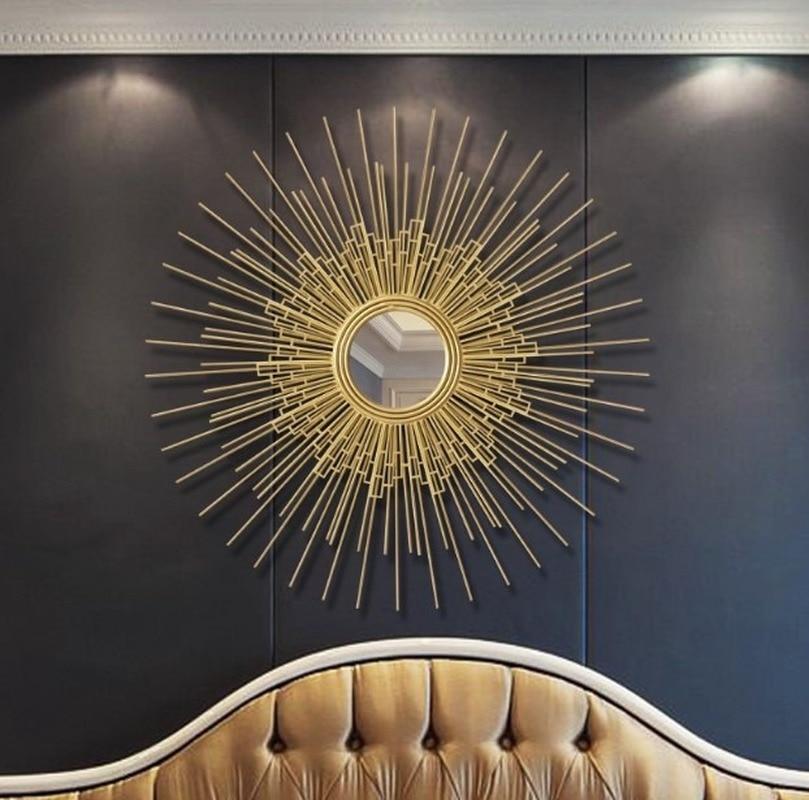 Sala de Estar Fundo da Parede Europa Ferro Forjado Parede Pendurado Ouro Sol Flor Espelhos Decorativos Decoração Casa Mural Ornamentos Zm1105
