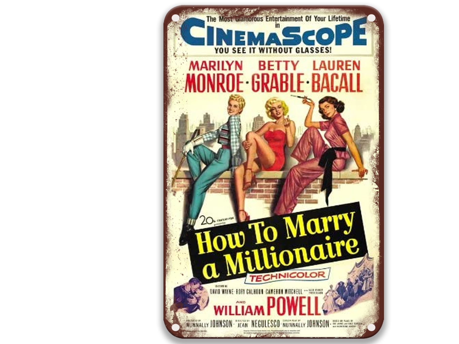 How To Marry A Millionaire Modern Metal Tin Signs Movies Living Room Decoration for Room 8x12 Inches