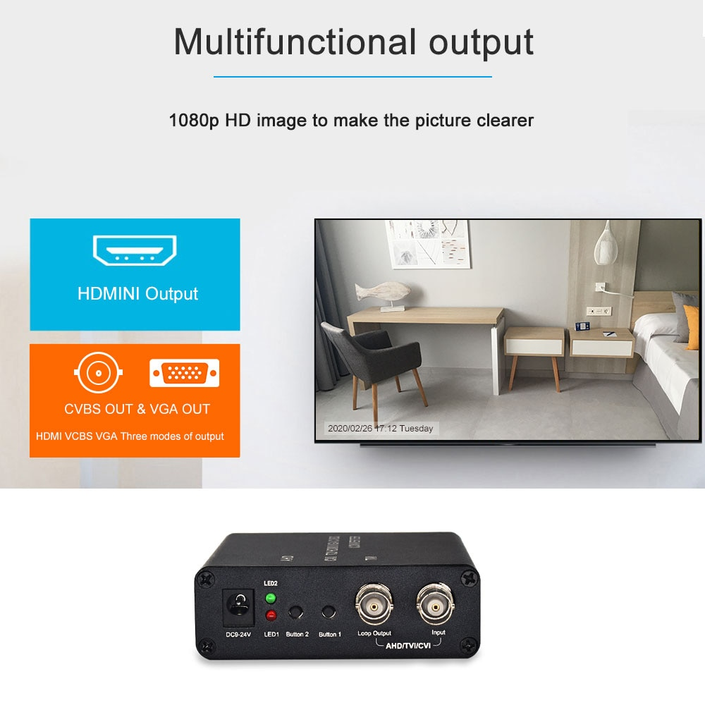 720P 1080P 3MP 5MP input AHD/TVI/CVI to HDMI/CVBS/VGA Video Converter full HD for CCTV Cameras enlarge