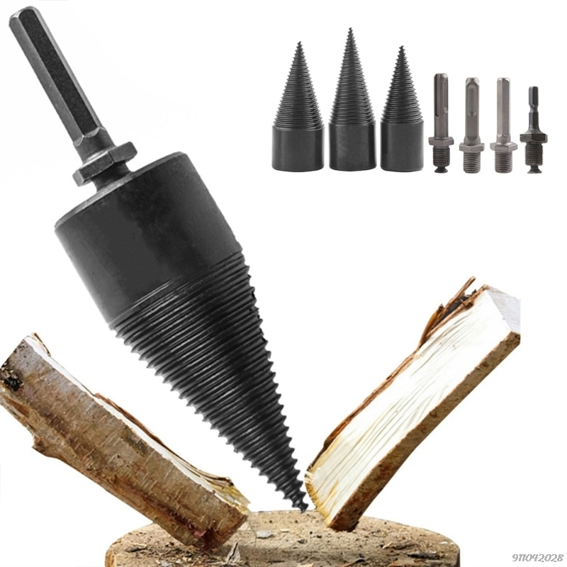 Home Outdoor Wood Chopping Drill Bit Firewood Machine Drill Parts Wood Cone Reamer Punch Driver Replacement Parts 21 Wholesales