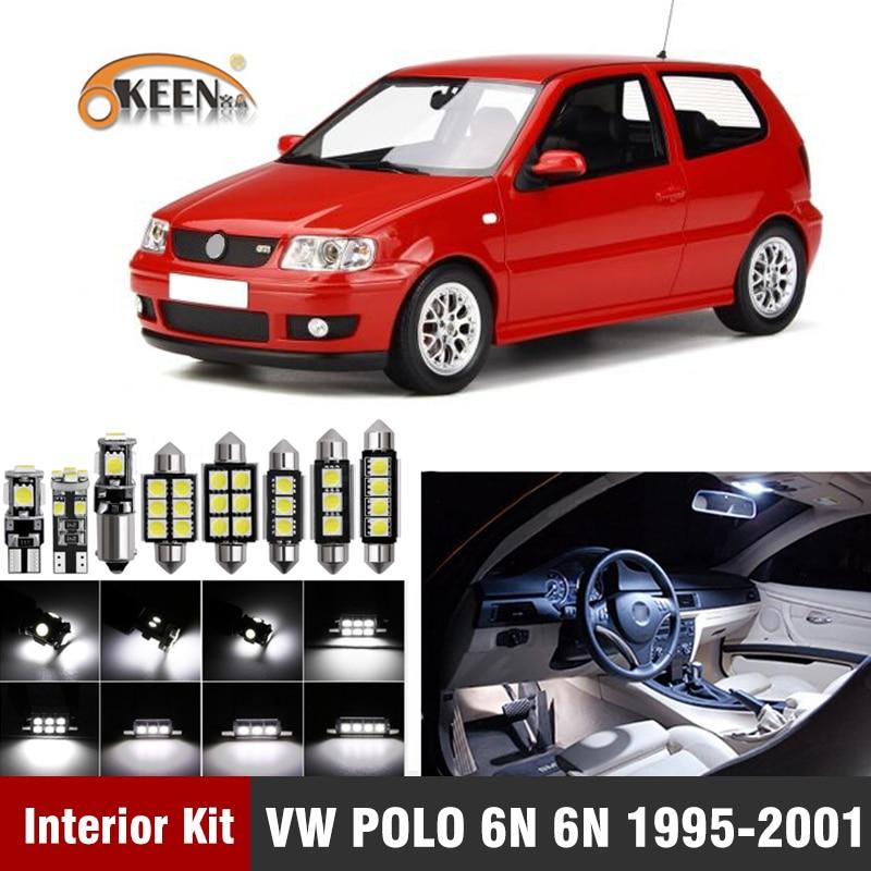 7 pces para volkswagen vw polo 6n 6n2 1995-2001 led interior lâmpada kit canbus mapa dome placa de licença luz acessórios do carro