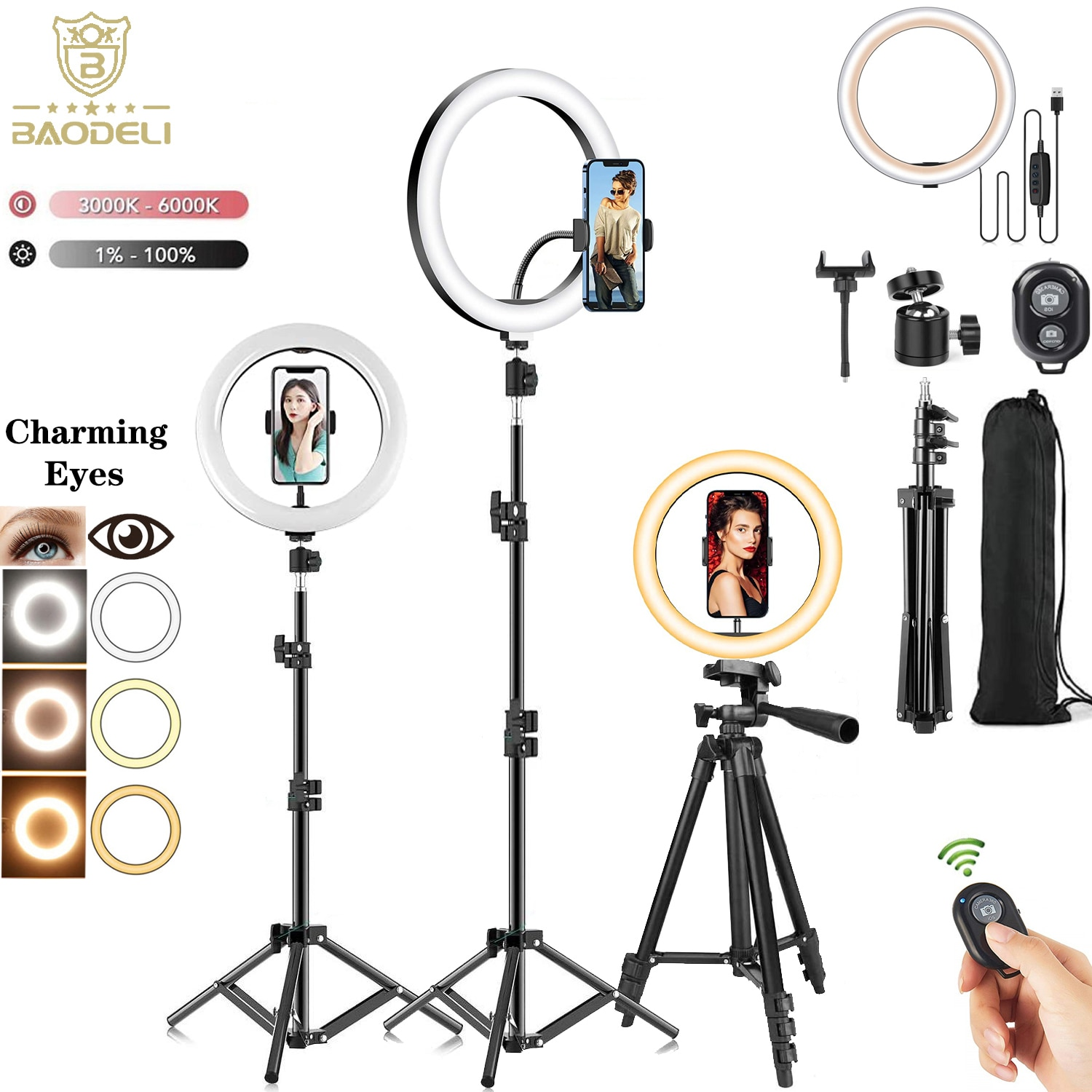 10'' 26cm LED Selfie Ring Light Photography RingLight Phone Stand Holder Tripod Circle Fill Light Dimmable Lamp Trepied Streaming