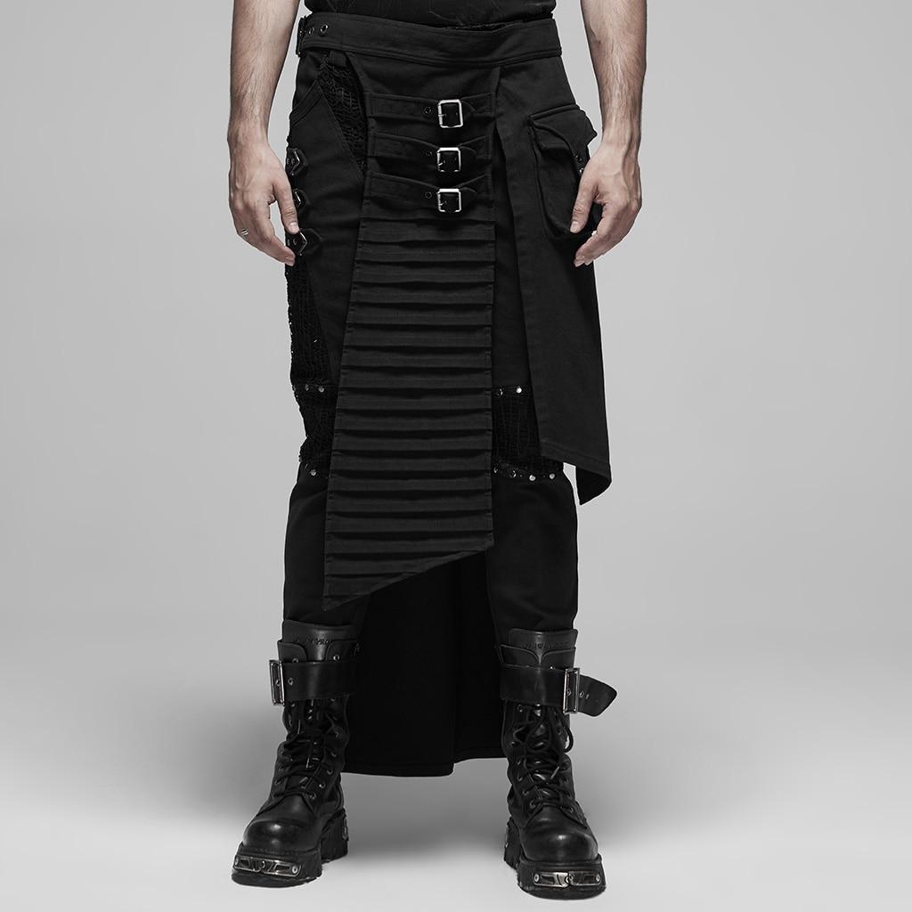 Punkave, media falda estilo Punk para hombres, novedad, traje tejido de sarga de Guerrero japonés, media falda
