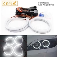 4pcs xenon look headlights with led angel eyes rings smd cootton drl for mazda 3 2002 2007 super bright daytime running lights