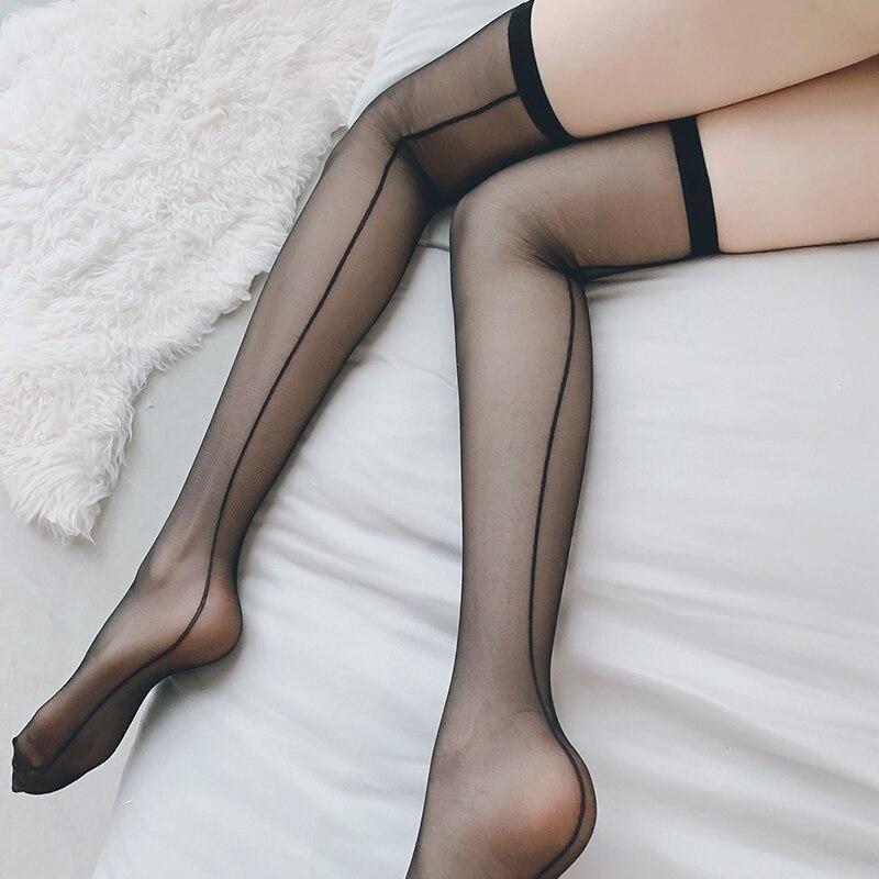 Moda feminina sexy meias de malha sólida coxa alta sobre o joelho meias macias meninas kawaii harajuku gothic lolita cosplay meias